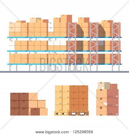 Stocked warehouse shelves and cardboard boxes on pallets. Modern flat style vector illustration isolated on white background.