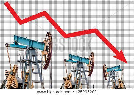Oil price crisis. Oil price fall graph illustration. Red arrow. Pump field background.