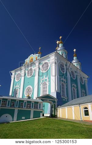 Classicism style christian ortodox church against blue sky