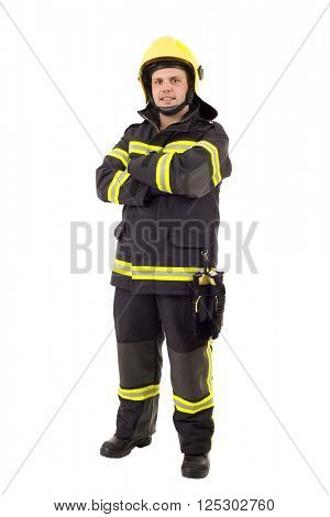 happy firefighter posing. Full length studio shot isolated on white.