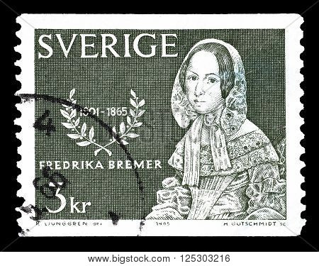SWEDEN - CIRCA 1965 : Cancelled postage stamp printed by Sweden, that shows Frederika Bremer.