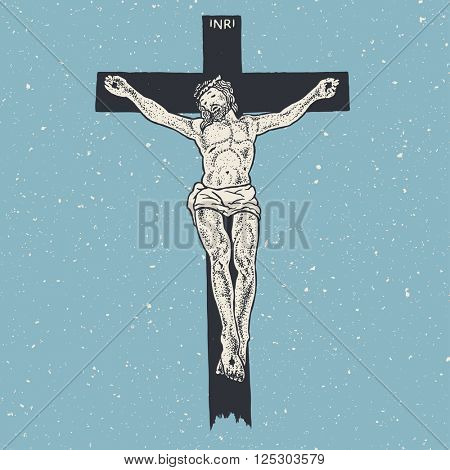 Jesus Christ crucifixion, vector illustration, color version