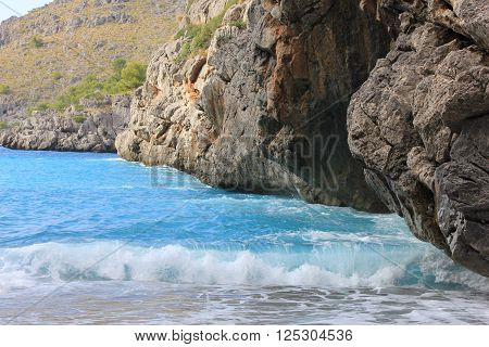 Beautiful sea waves Palma  de mallorca beach