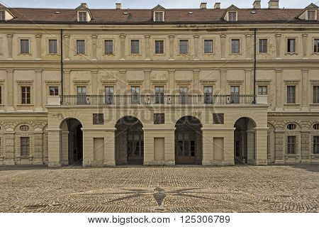 WEIMAR, GERMANY - APRIL 17, 2014: Facade of the Stadtschloss (city castle) of Weimar seen from the inner court, Thuringia, Germany