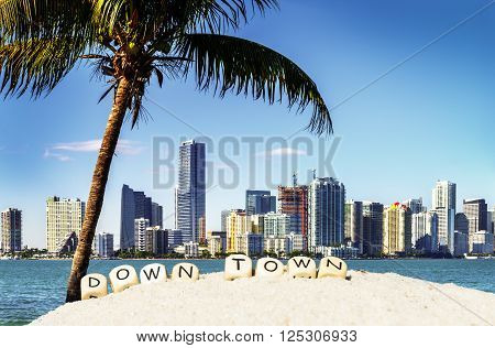 Miami Downtown skyline in daytime with Biscayne Bay.