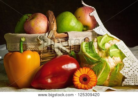 Image of Still Life of Vegetables and Fruits