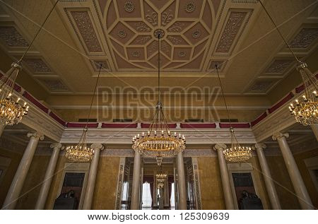 WEIMAR, GERMANY - APRIL 17, 2014: ceiling of the large ballroom in the Stadtschloss (city castle) of Weimar, Thuringia, Germany