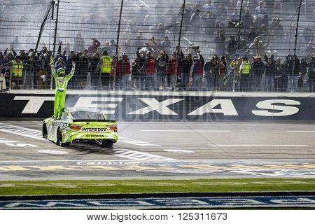 Ft. Worth, TX - Apr 10, 2016: Kyle Busch (18) wins the Duck Commander 500 at the Texas Motor Speedway in Ft. Worth, TX.