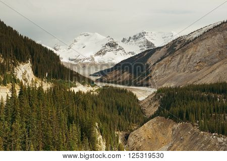 Columbia Icefield with snow covered mountains in Banff Jasper National Park, Canada.