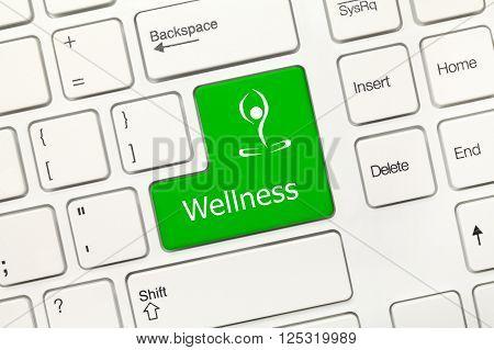 White Conceptual Keyboard - Wellness (green Key)