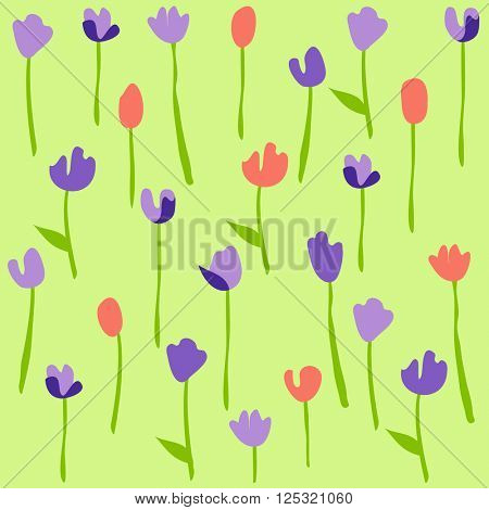 Seamless floral pattern with tulips