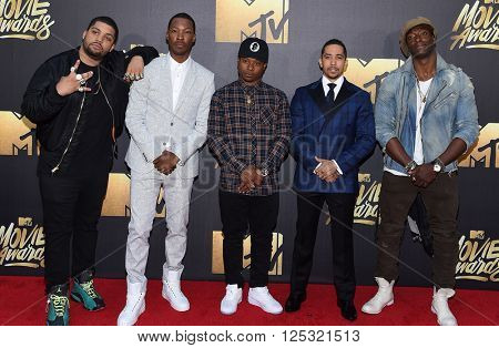 LOS ANGELES - APR 09:  O'Shea Jackson Jr., Corey Hawkins, Jason Mitchell, Neil Brown Jr arrives to the Mtv Movie Awards 2016  on April 09, 2016 in Hollywood, CA.