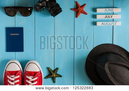 Image of travelling concept. Outfit of traveler, student, teenager, girl or guy. Summer background, Preparation for vacation oand travel. With empty space.