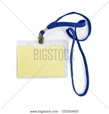 Blank ID or security card with blue neck strap