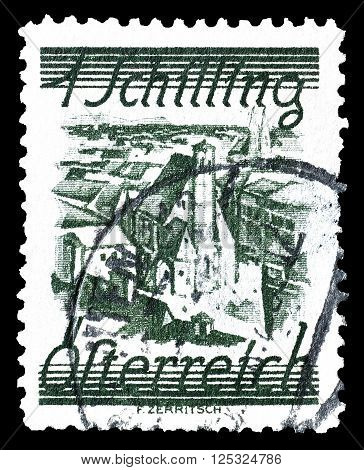 AUSTRIA - CIRCA 1925:  Cancelled postage stamp printed by Austria, that shows Church of Minorite Friars.