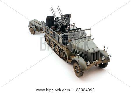 Model semi-tracked tractor German World War II