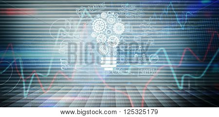 Business graphics against stocks and shares on black background