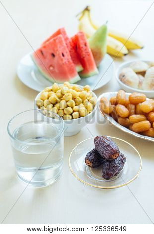 Assorted fasting food during holy month of Ramadan. Muslims all over the world observe fast during Holy month of Ramadan.