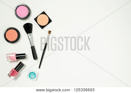 Beauty Cosmetics Framed On The Left For Copy Space