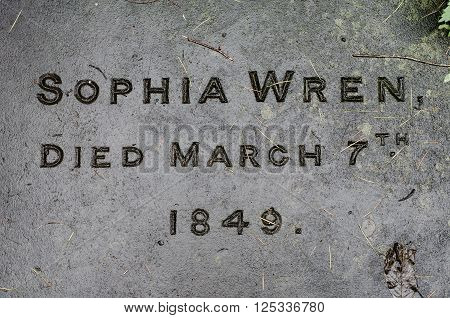 BATH, UK - APRIL 11 2016  Sophia Wren's gravestone. Name and date engraved on the gravestone of the great granddaughter of the celebrated British architect in churchyard in Bath Somerset UK