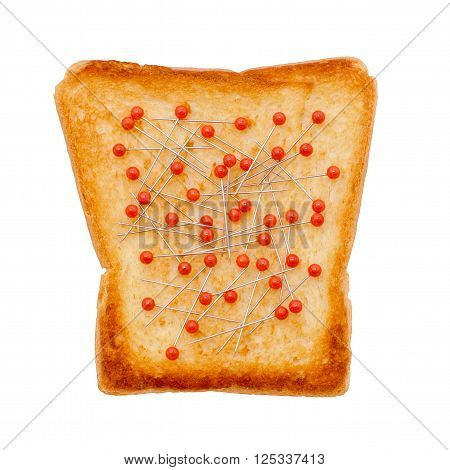 red pins on toasted bread. poaching of red caviar. smuggling, problems with the law. concept. isolated on white background