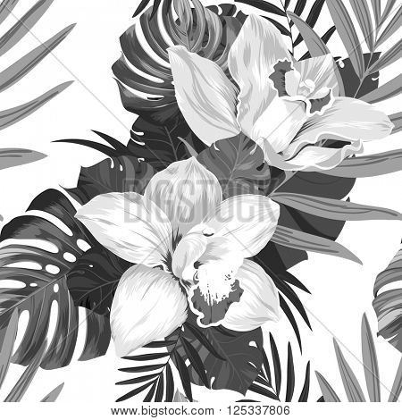 Seamless pattern of leaves monstera and blooming orchids. Monochrome composition
