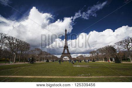 PARIS, FRANCE - MARCH 27, 2016: Beautiful view of Eiffel tower, Paris, France