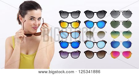 fun woman with sun glasses sale concept