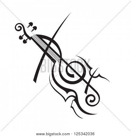 abstract monochrome illustration of violin
