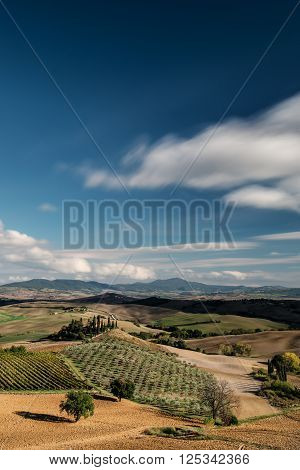 Typical landscape in Tuscany from an increased field of view