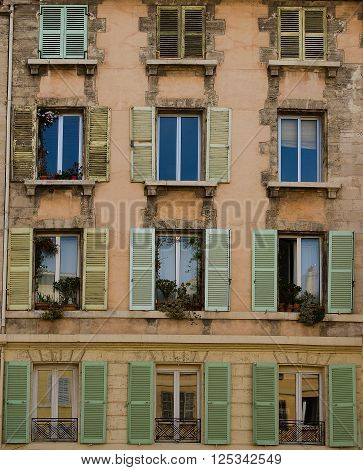 Window Brown, France, French, Marseille, Old, Shutter, Shutters, buildings, architecture, closed, flip, house, wall, mirror, mirroring, open, opened, plant, flowers, potted, rundown, rustic, sky