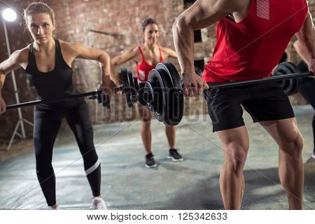 bodybuilders have training with dumbbell
