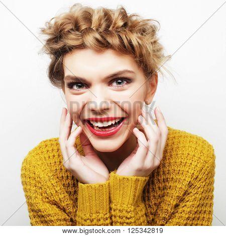 Woman hair style portrait.