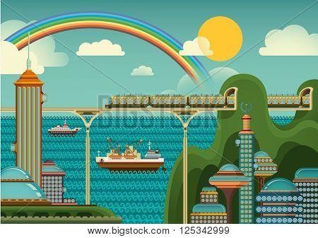 Modern city panorama. Vector illustration.