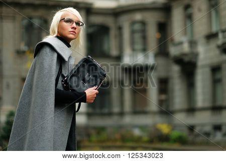 Autumn portrait of beautiful blonde woman