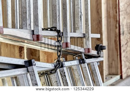 Chained Up Construction Ladders