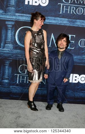 LOS ANGELES - APR 10:  Erica Schmidt, Peter Dinklage at the Game of Thrones Season 6 Premiere Screening at the TCL Chinese Theater IMAX on April 10, 2016 in Los Angeles, CA