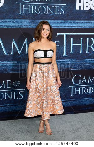 LOS ANGELES - APR 10:  Maisie Williams at the Game of Thrones Season 6 Premiere Screening at the TCL Chinese Theater IMAX on April 10, 2016 in Los Angeles, CA