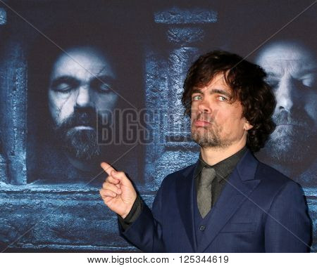 LOS ANGELES - APR 10:  Peter Dinklage at the Game of Thrones Season 6 Premiere Screening at the TCL Chinese Theater IMAX on April 10, 2016 in Los Angeles, CA