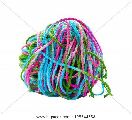 Tangled yarn Tangled colorful sewing threads on white background.