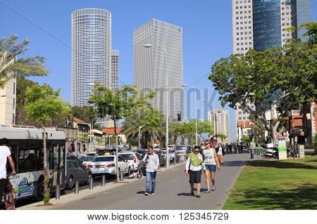 TEL AVIV, ISRAEL - APRIL 7, 2016 : Cityscape with towers of Azrieli Center and Sarona area in Tel Aviv, Israel. Azrieli center is the main landmark of Tel Aviv.