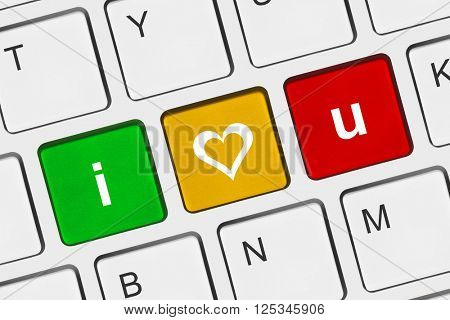 Computer keyboard with I love You keys - internet concept