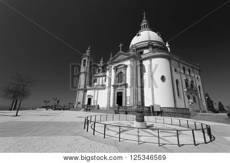 Sanctuary of Sameiro in Braga, north of Portugal. Color in black and white