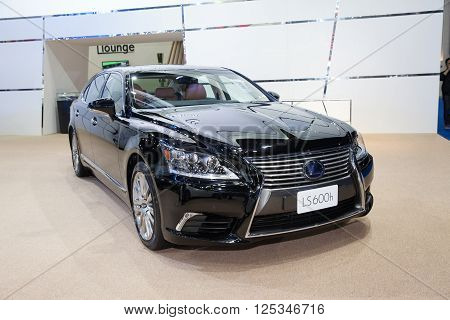 BANGKOK - MARCH 22: Lexus LS 600h car on display at The 37 th Thailand Bangkok International Motor Show on March 22 2016 in Bangkok Thailand.
