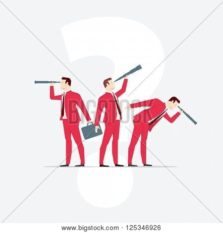 Businessmen, looks through a telescope. Vector business concept illustration.