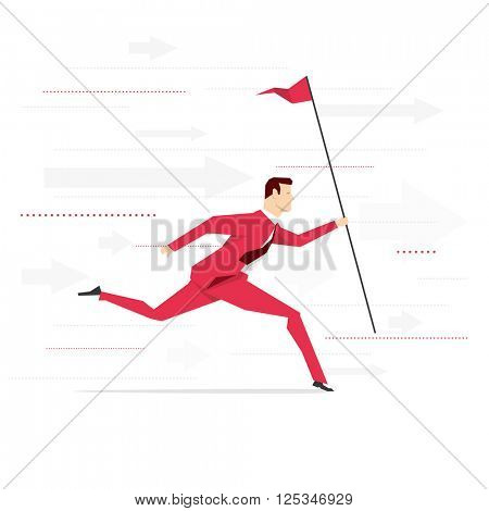 Red suit businessman running with flag. Vector concept illustration.