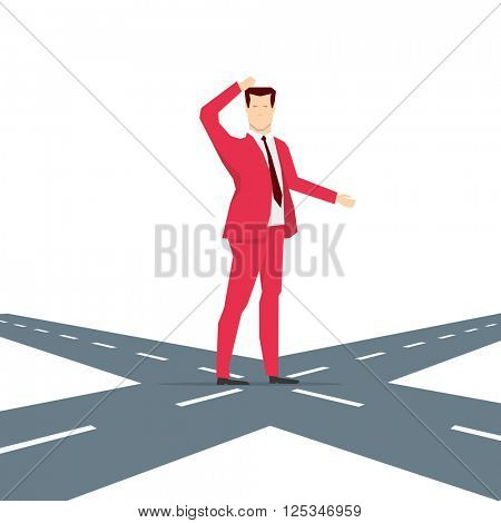 Red suit businessman thinking for choice. Vector concept illustration.