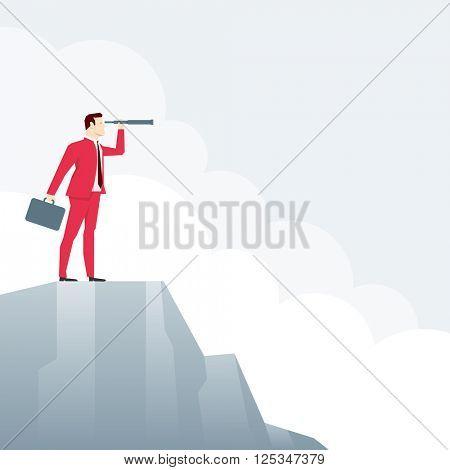 Businessman on peak, looks through a telescope. Vector business concept illustration.
