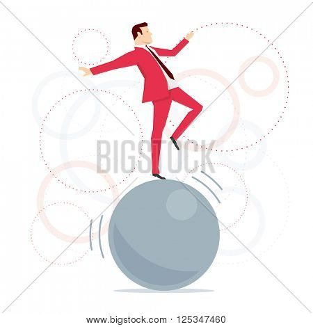 Red suit businessman standing on big ball like an acrobat. Vector concept illustration.