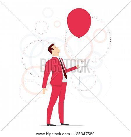 Red suit businessman holding a red balloon. Vector concept illustration.
